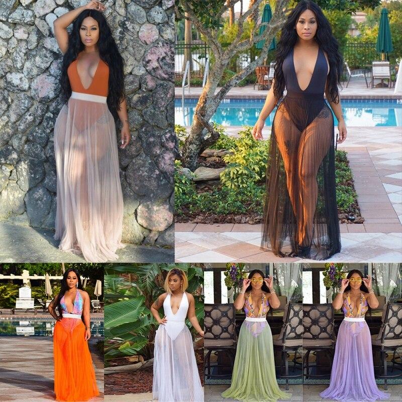 Z Summer Skirts Women Sexy Sheer Mesh Perspective Half-length Pleated Elegant Solid Skirts Party Beach  Long Maxi Skirt faldas