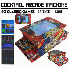 Arcade Cocktail Table Game Video Machine H/ 60 Classic Games Commercial grade (15 Inch LCD Monitor)