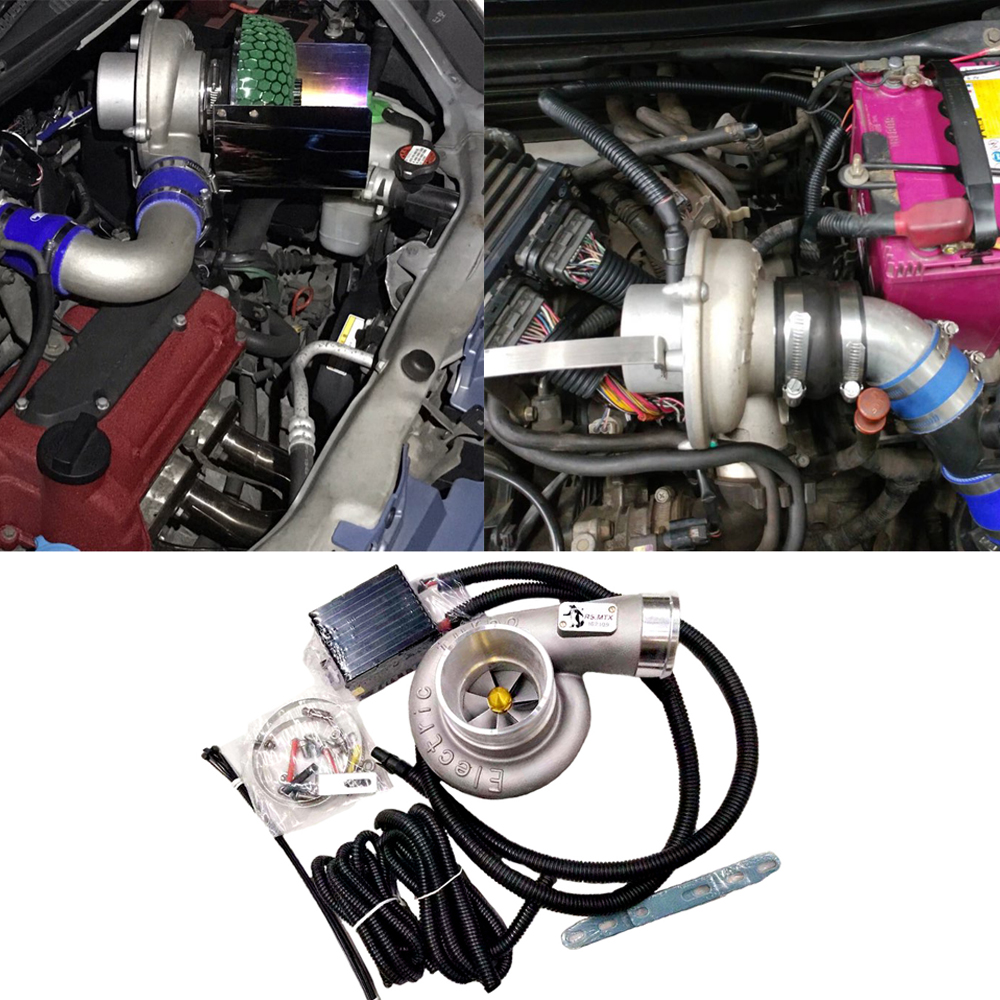2 Set Auto Electric Turbo Supercharger Kit Thrust Motorcycle Electric Turbocharger Air Filter Intake For All Car Improve Speed