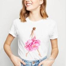 Pink Peonies Art Print vogue funny t shirts women kawaii tshirt tumblr clothes summer tops camiseta mujer tees drop shipping