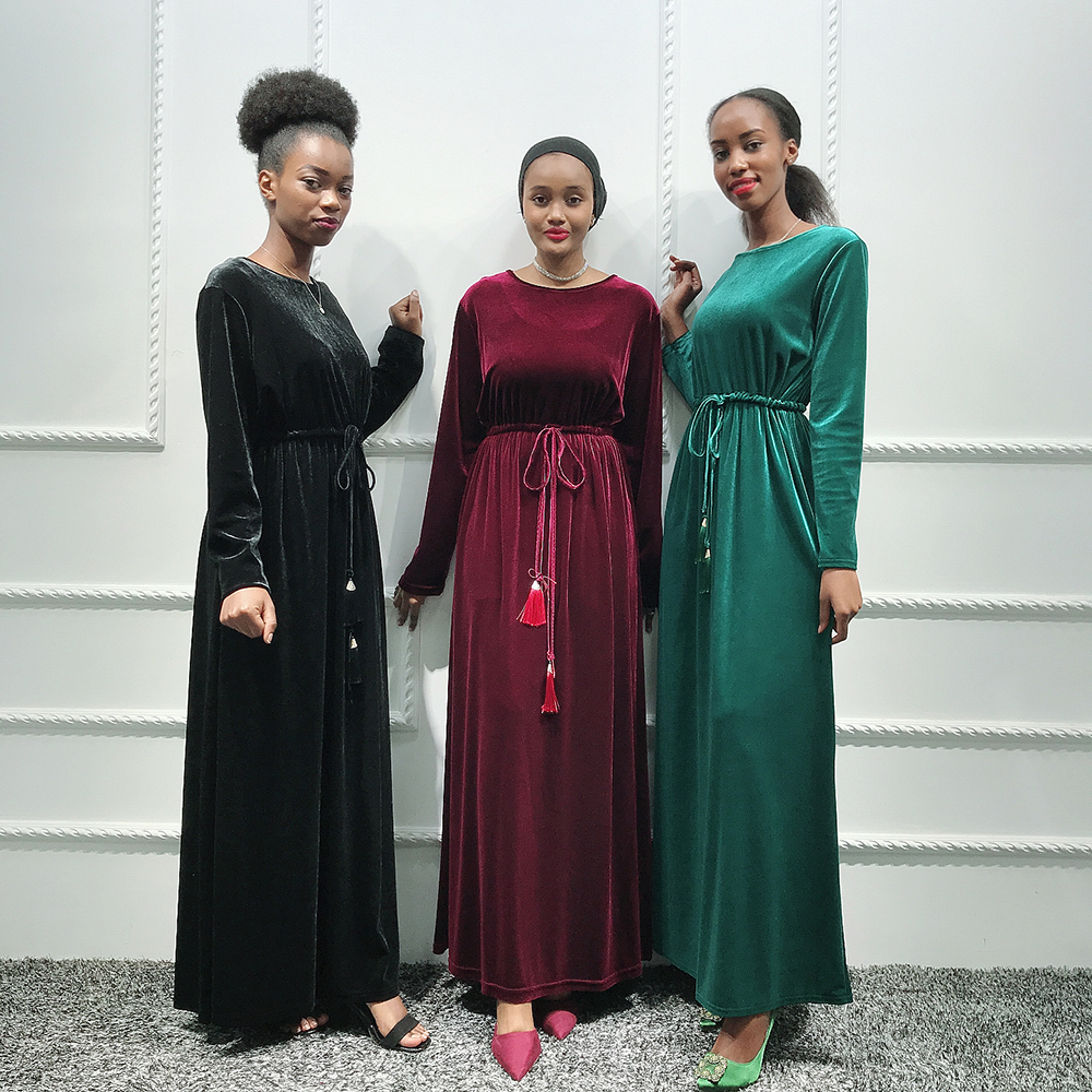 Velvet Kaftan Abaya Dubai Hijab Muslim Dress Abayas For Women Turkey Caftan Marocain Tesettur Elbise Ramadan Islamic Clothing