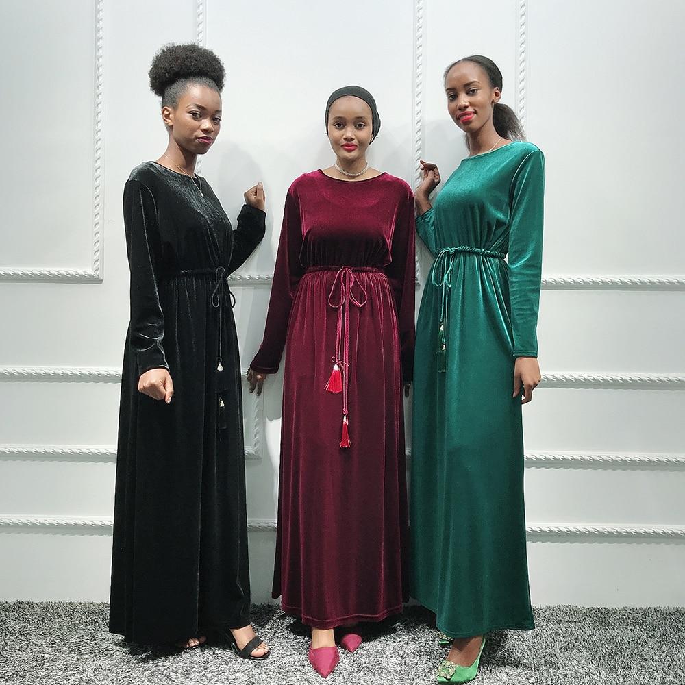 Velvet Kaftan Abaya Dubai Hijab Muslim Dress Abayas For Women Turkey Caftan Marocain Tesettur Elbise Ramadan Islamic Clothing