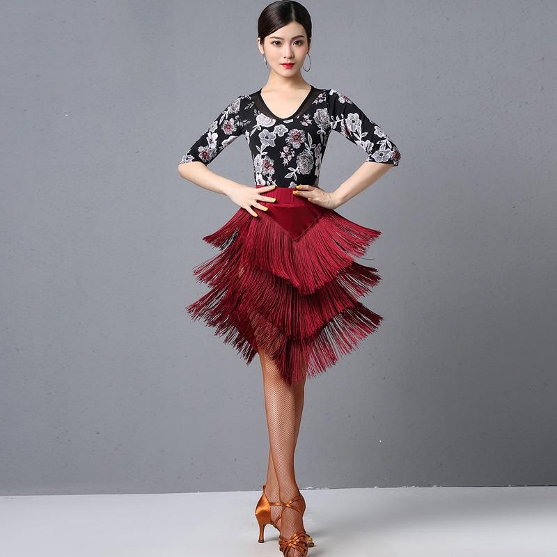 Latin Dance Practice Clothes Women Ballroom Dance Clothes Modern Dance Practice Middle Sleeved Printed Tops Fringe Skirt DL4320