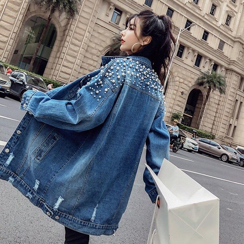Yocalor Mode Losse Kralen Gat Gewassen Denim Jeans Jacket Vrouwen Chaqueta Mujer Streetwear Herfst Lange Jas Vrouwelijke Verfraaid
