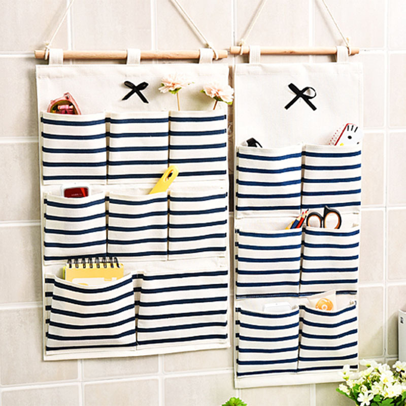 6/8 Pockets Vintage Striped Cotton Linen Hanging Storage Basket Wall Mounted Wardrobe Cosmetic Toys Home Organize  Pouch  S69