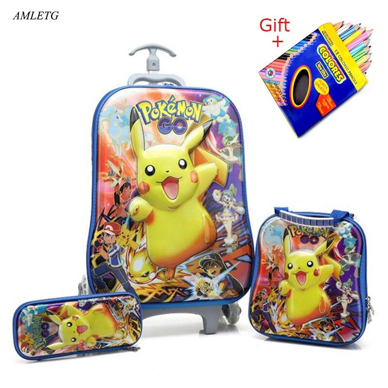 2018 nueva mochila para niños mochila escolar para niños con ruedas equipaje para niños niñas mochila escolar bolsa de regalo para niños-in Carteras escolares from Maletas y bolsas    1