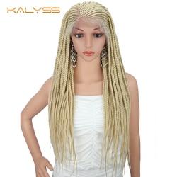 Kalyss 28 дюймов 13x6 плетеные парики плетеные Синтетические волосы на кружеве парик для черных Для женщин 613 светлые искусственные Синтетически...