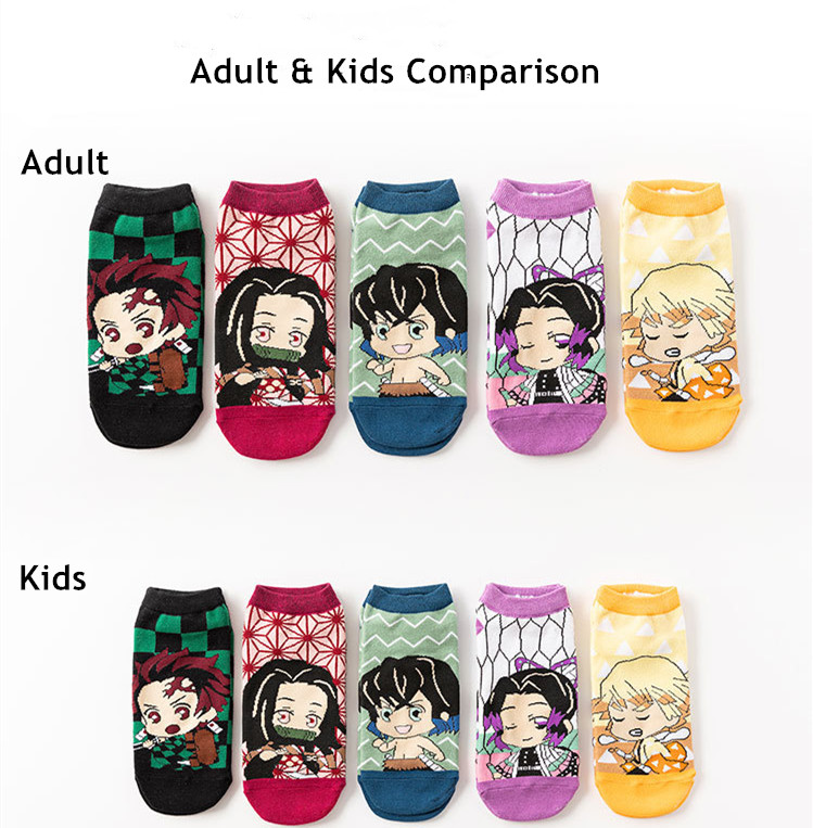 5 пар/компл демон убийца kimetsu без yaiba носки косплей с рисованным