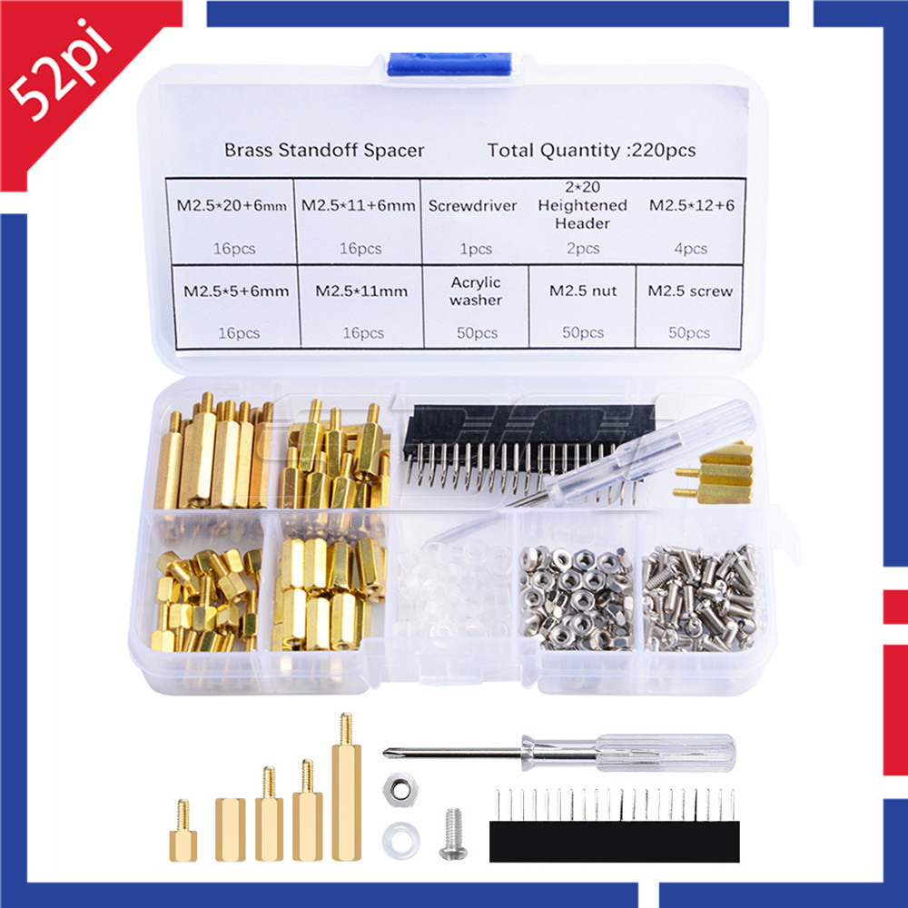 52Pi New Screws Kit 220pcs Waterproof M2.5 Hex Male-Female Standoff Screws Box Nut Kit Assortment Set For Raspberry Pi Spacer