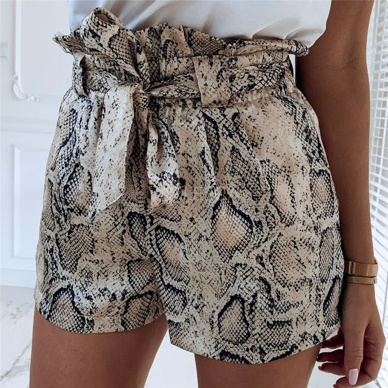 High Waist Women ladies hot sale bottoms shorts Fashion printed boho beach casual belted Hot Pants Wide leg short clothes Femme