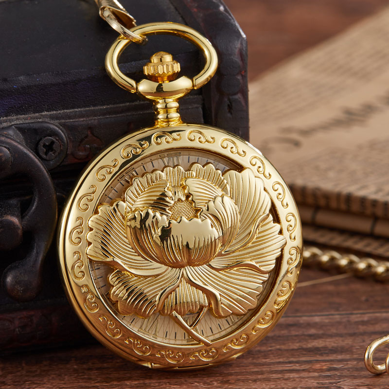New Arrival Luxury Golden Lotus Flower Steampunk Pocket WatchMechanical Pocket Watch Pendant Necklace Chain Reloj De Bolsillo