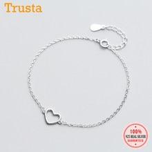 Trusta-pulsera de plata de primera ley con forma de corazón para mujer, brazalete, plata esterlina 100%, 925 cm, 15,5 cm, envío directo, DS568