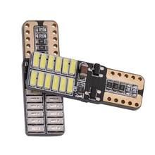 Mapa do carro luzes da placa de licença da porta luz indicação decodificação do carro interior dome lâmpada t10 4014 24smd lâmpadas led w5w canbus 12v