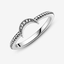 2020 New Winter 925 Sterling Silver Ring Crescent Moon Beaded Ring Women Engagement Anniversary Jewelry