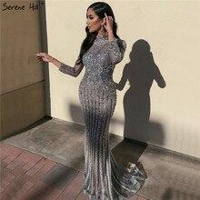 Muçulmano cinza mangas compridas sparkly formal vestidos 2020 luxo sereia diamante lantejoulas vestidos de noite sereno hill la70199