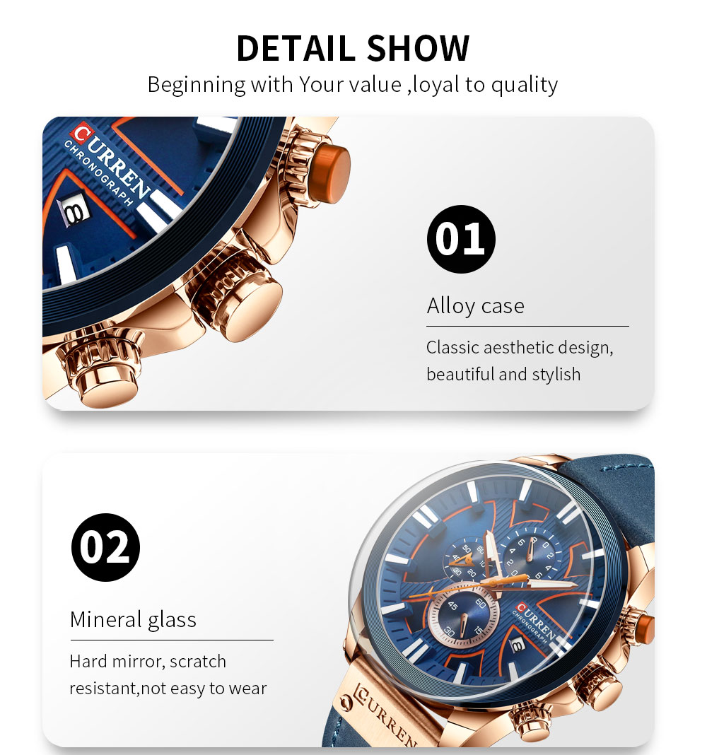 H752e119684f04de180e99d08fe0d6e6dV CURREN Brand Luxury Men Watch Leather Quartz Clock Fashion Chronograph Wristwatch Male Sport Military 8346 Relogio Masculino