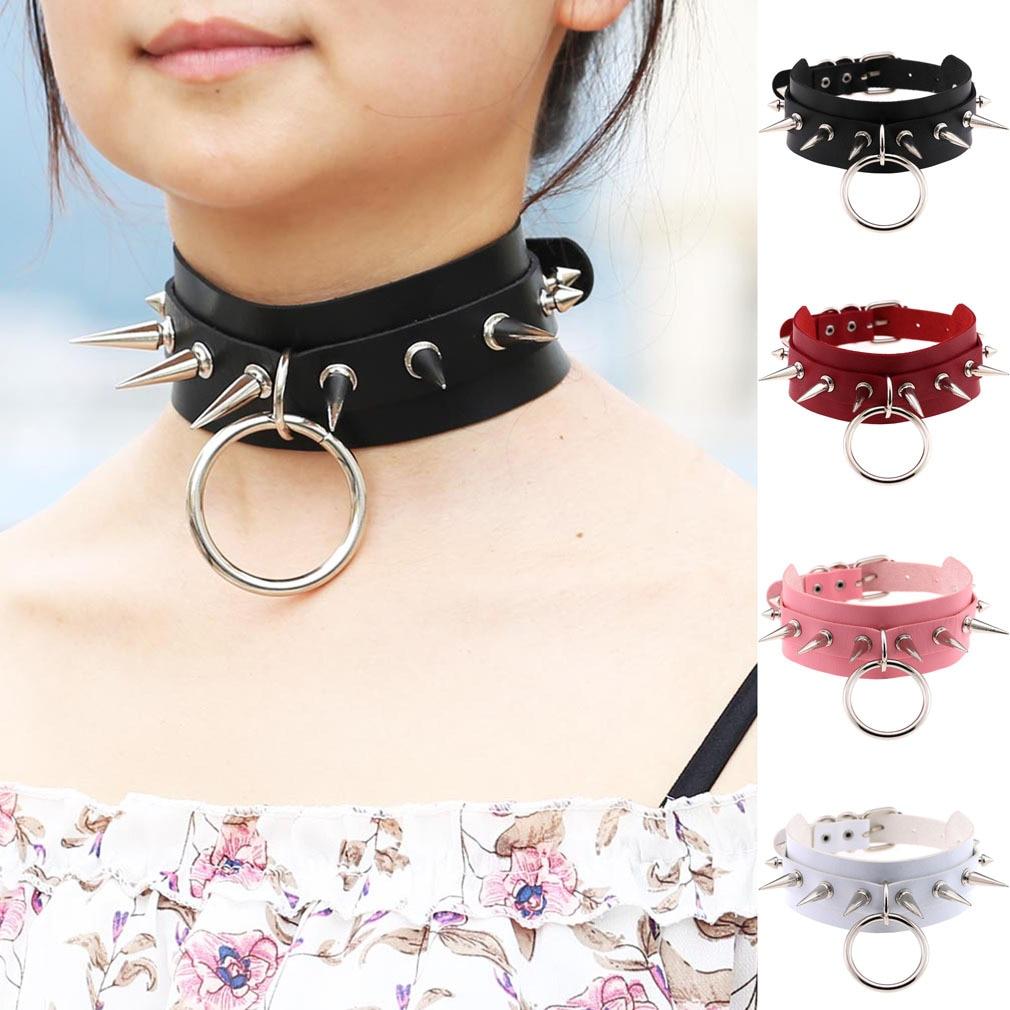 New Style Cool Exaggeration Harajuku-Style O-Circular Ring Neck Ring Nightclub Bar Street Snap Rivet Spike Choker Necklace