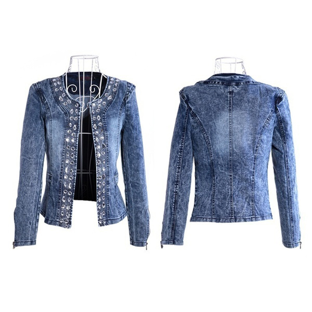 H752e1d8f419a4f2388c9eea2fd90ccf7U JAYCOSIN Women's Coat New Fashion 2019 Denim Coat Ladies Casual Jacket Outwear Jeans Overcoat female Turn-down Collar jackets