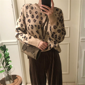 Ailegogo New 2020 Autumn Winter Women's Sweaters Pullovers Leopard Korean Style Knitted Stylish Female Jumpers SW9539 5