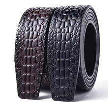 Real Crocodile Genuine Leather Belts for Men Without Buckle 3.5 CM Width Top Qua