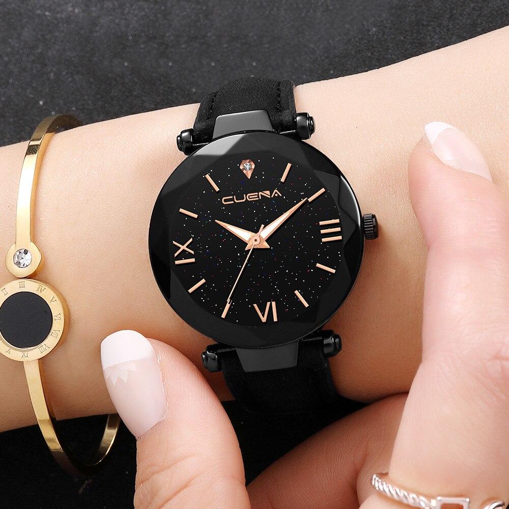 CUENA Fashion Watch Leather Band Stainless Steel Sport Quartz Analog Diamond Wrist Watch Watches Women Men Clock Montre Femme /N
