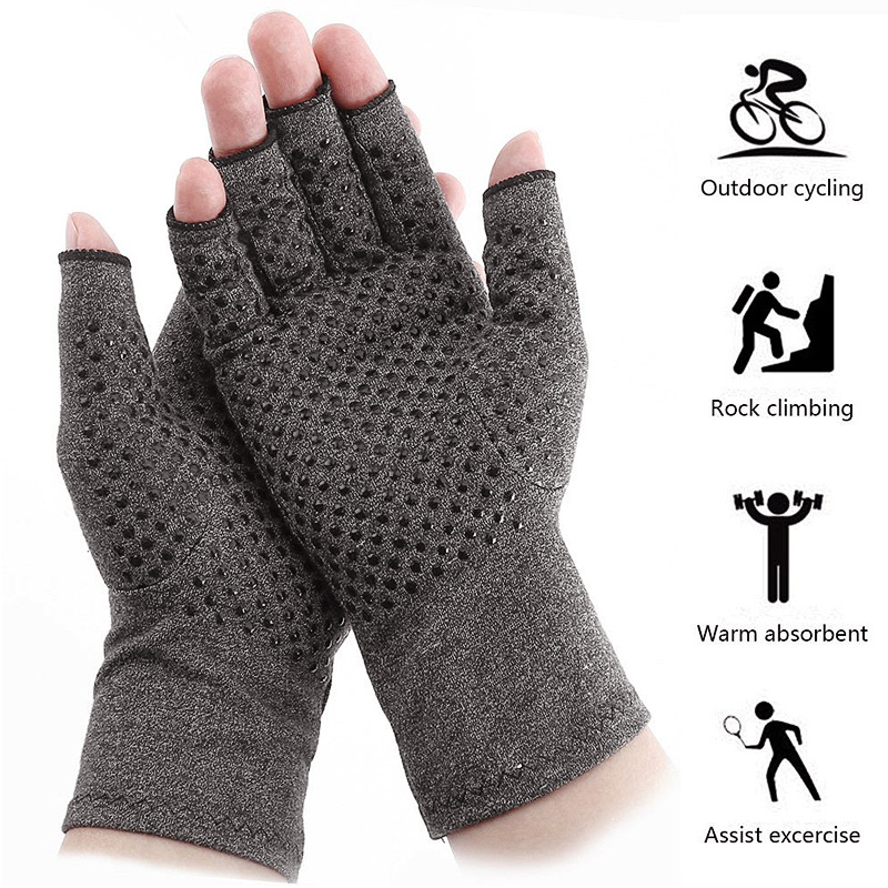 Silicon Antiskid Compression Gloves Men Fingerless Gloves Outdoor Sports Cycling Fitness Relief Hand Pain Pressure Gloves