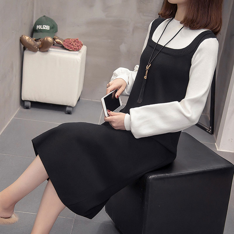 Women Winter basic Long Sweater Dress long sleeve Elegant solid color brief slim Knitted dresses pullovers fashion
