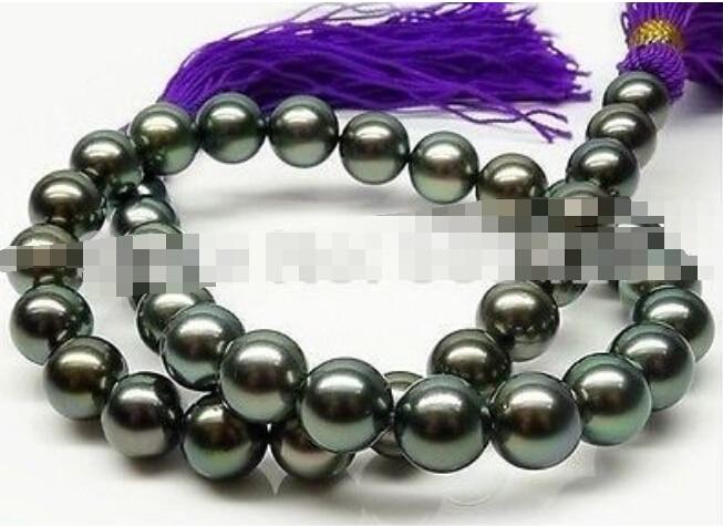 Tahitian Black Pearls Necklace 18/'/' 10-11mm AAA+