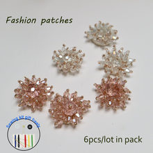 6 pçs/lote flor de cristal frisado apliques patches para vestuário DIY sew on rhinestone patch Bordado parches bordados parágrafo ropa