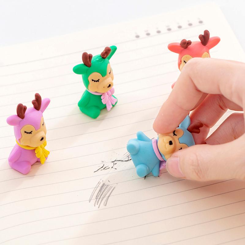 4pcs/lot Cartoon Mini Colorful Animal Deer Elk Christmas Pencil Eraser Rubber For Kid School Stationery Supply