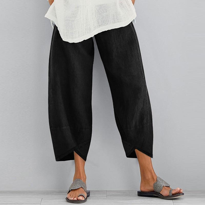 Vintage Women Cotton Linen Wide Leg Pants ZANZEA 2021 Female Asymmetric Trousers Ladies Casual Loose Pockets Elastic Waist Pants