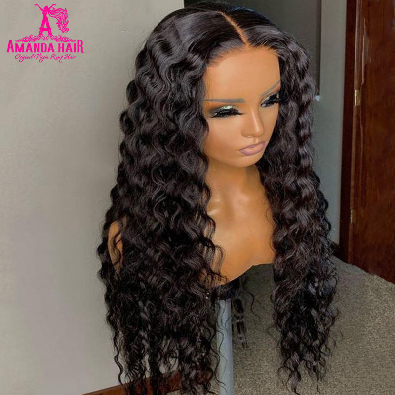 Парик Аманда с глубокой волной, 13x1 T часть, бразильские человеческие волосы, парики на сетке, плотность 150, предварительно выщипанные, Remy, 30 дюймов, парики на сетке для женщин