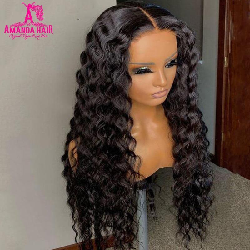 Парик Аманда с глубокой волной, 13x1 T часть, бразильские человеческие волосы, парики на сетке, плотность 150, предварительно выщипанные, Remy, 30 дю...