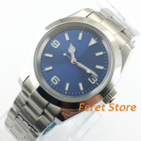 40mm bliger estéril azul dial luminoso caso sólido vidro safira relógio automático masculino b25