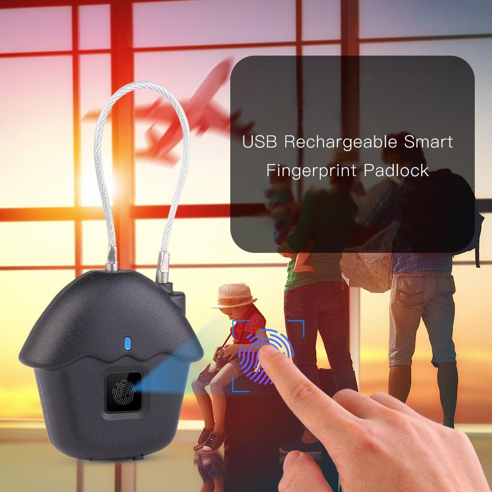 USB Smart Lock Rechargeable Intelligent Fingerprint Lock IP54 Waterproof Anti-theft Keyless Padlock Carry Luggage Case Lock