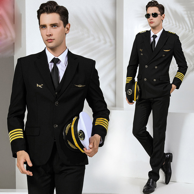 International Airline Uniform Suits Jacket + Pants Air China Pilot Clothing Male Security Supervisor Manager Professional Suit