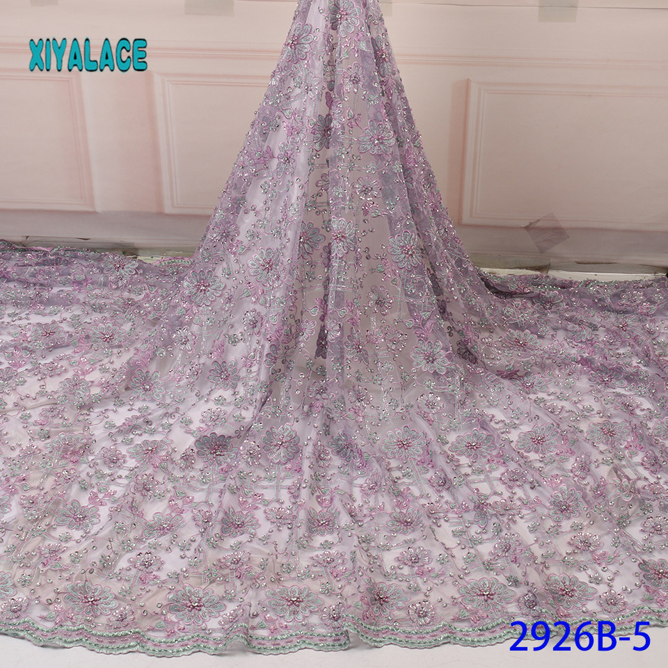 African Lace Fabric Latest High Quality 2019 Lace Embroidery French Lace Fabric Bridal Lace For Nigerian Party Dress YA2926B-5