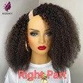 Афро кудрявые U-образные парики, 220% плотные человеческие волосы, бразильские натуральные волосы, кудрявые парики с прямой частью для чернок...
