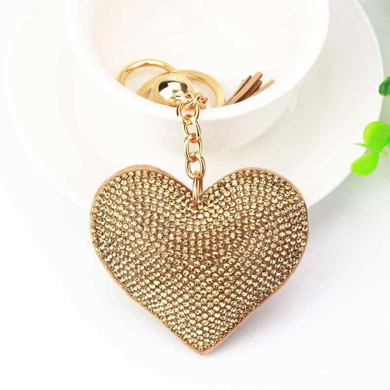 Trendy heart pendent keychain leather tassel key holder metal key chain fashion golden crystal keyrings bag car accessories gift