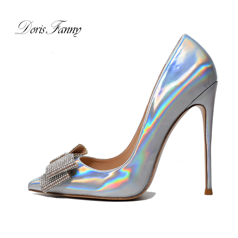 Doris Fanny Stiletto Spring Summer Women Shoes Woman Heels Crystals Wedding Shoes Bride Red Bottom Heels Silver