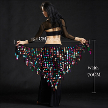 Women belly dance clothes sexy big sequins belly dance scarf lady dance accessories girls belly dance waist belt hip scarf cheap Dancer s Vitality DV138 Acetate Acrylic Polyester Viscose white black red one size women girls competition suits