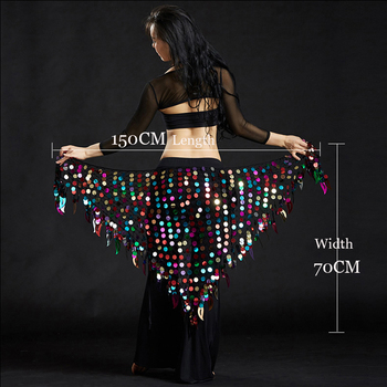 Women belly dance clothes sexy big sequins scarf lady accessories girls waist belt hip