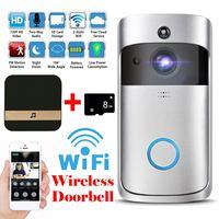 Timbre de vídeo inteligente de seguridad con Wifi inalámbrico, 3 modos de visión nocturna, grabación a prueba de agua, cámara de detección de Monitor para el hogar, almacenamiento en la nube