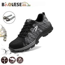 BAOLESEM Man Safety Shoes Work Steel Cap Toe Men Boot Male Indestructible Mens Sneaker Anti-pierce
