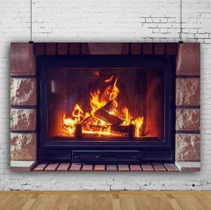 Image 3 - Фон для детской фотосъемки с изображением кирпичной стены камина огня зимы