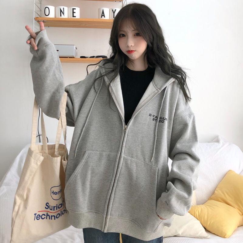 Harajuku with hat hoodies women zipper kangaroo pocket casual loose solid color sweatshirt female 2020 fashion new female tops 24