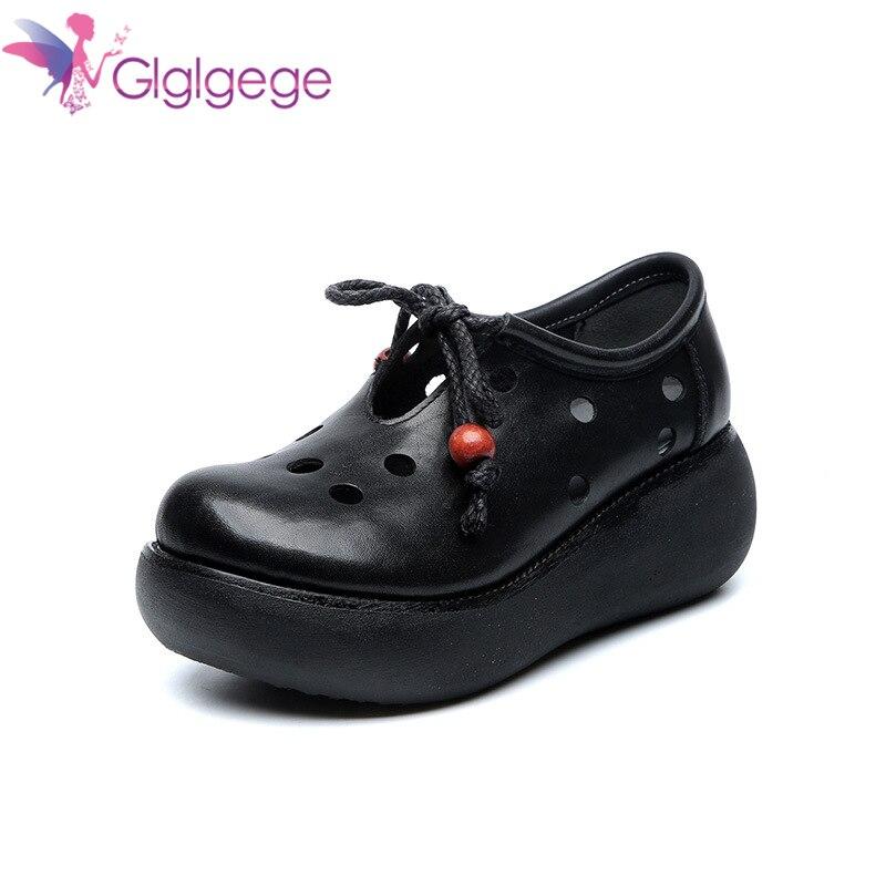 Promo Glglgege Sandals Woman Shoes Lace-up Color Mesh Flower Hole Flat Heel 4 cm Platform Casual Fashion Sandals Women Summer Shoes