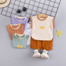 Han edition vest children suit the new 2019 baby child boy sleeveless shorts in summer leisure two-piece outfit цена в Москве и Питере