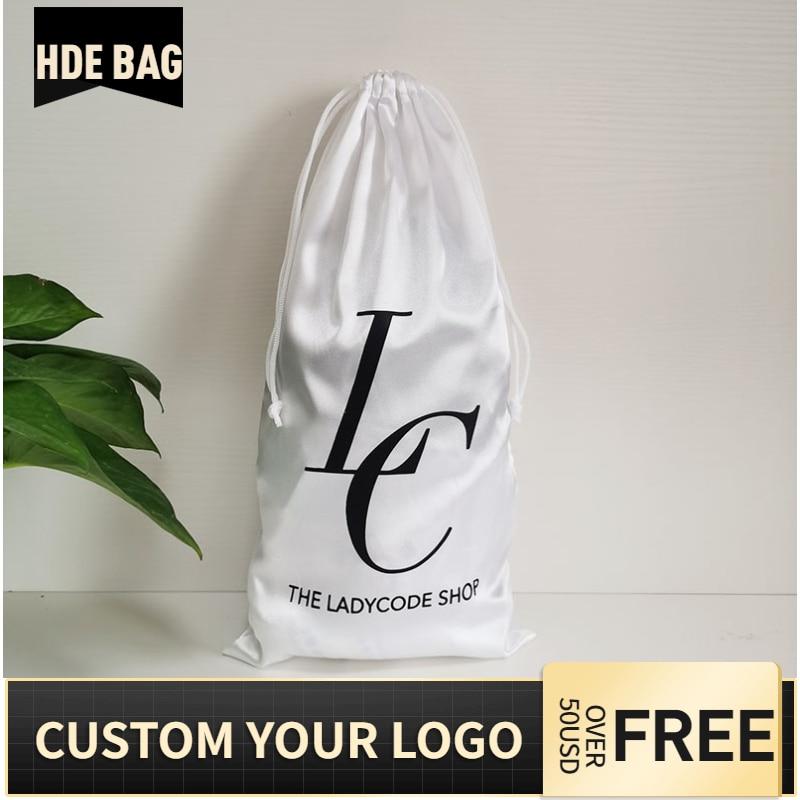 50pcs 18x35cm White Silk Satin Hair Bag Shoes Boots Bikini Underwear Extenssions Storage Drawstring Packaging Bags Custom Logo