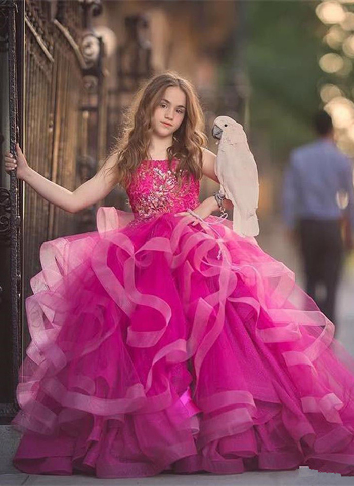 Gorgeous   Flower     Girl     Dresses   Spaghetti Tulle Pageant Birthday party Applique Princess Gown First Communion   Dresses